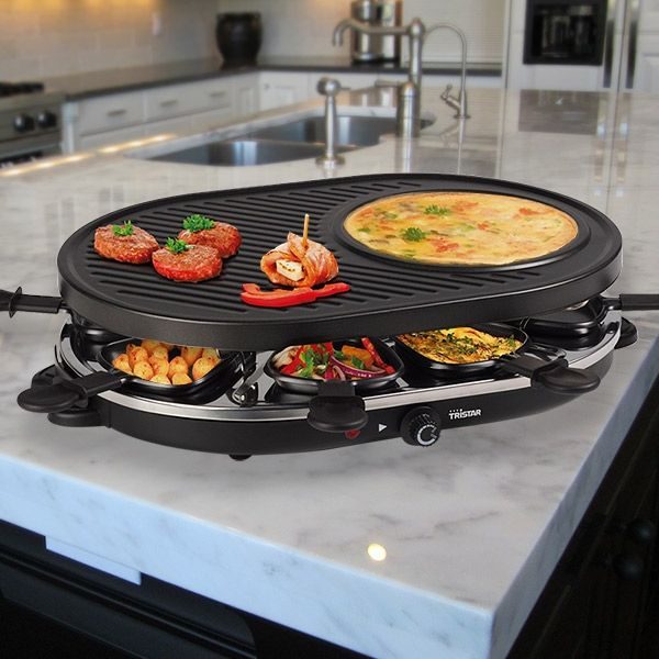 Tristar ra2996 raclette grill mit crepe platte zum for Grill mit platte