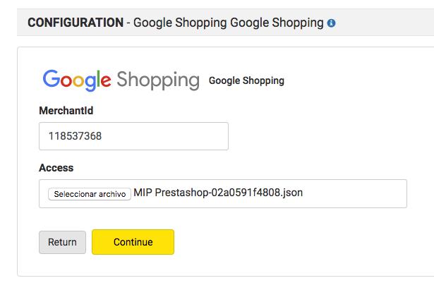 google shopping configuration